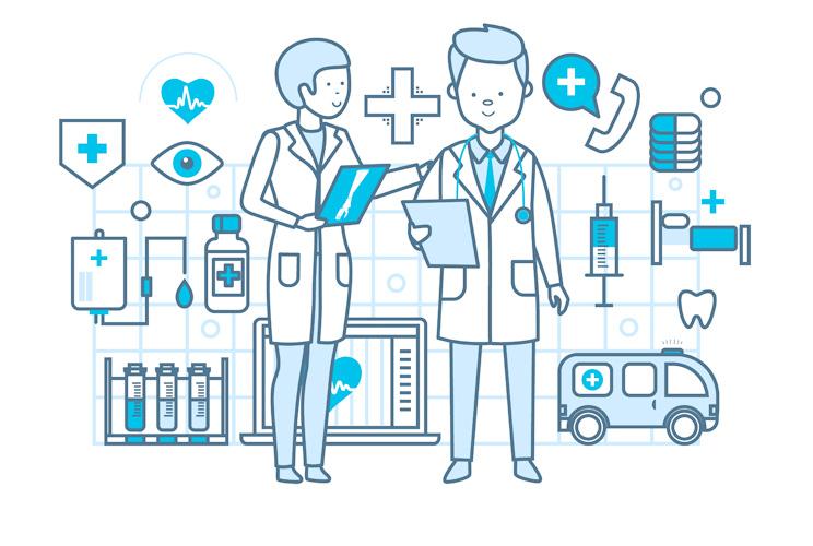Imagen de ilustración de médicos