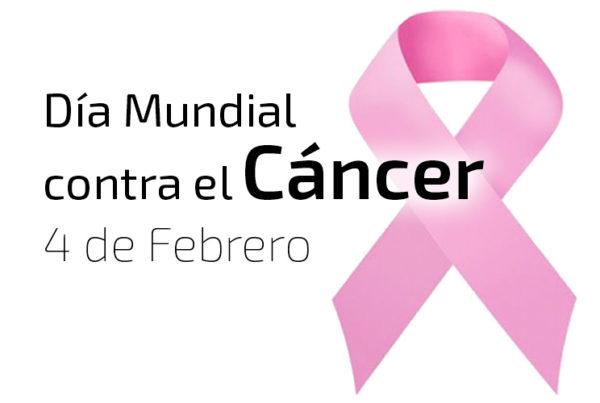 Imagen de lazo rosa con lema Día Mundial contra el Cáncer, 4 de febrero