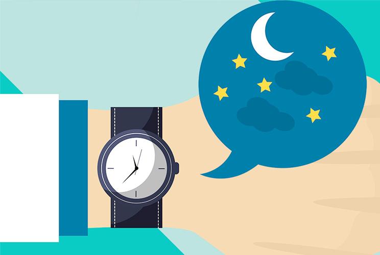 Imagen de ilustración de un reloj de pulsera con una luna