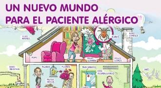 Imagen ilustrada de una casa con elementos que pueden provocar alergias