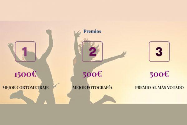 Imagen que indican los premios del certamen con unas ilustraciones de dos personas saltando