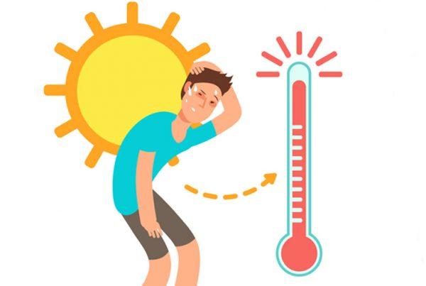 Imagen de una ilustración con un chico, un sol y un termómetro