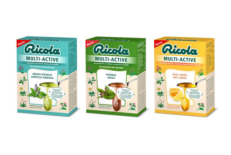 Imagen de las tres cajitas de Ricola Multi-Active
