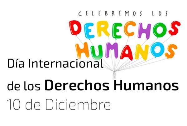 Imagen de unos globos de colores que hacen la palabra Derechos Humanos