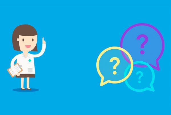 Imagen de una ilustración con una chica y globos con interrogaciones