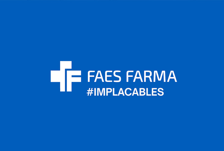 Logo de FAES FARMA con Implacables
