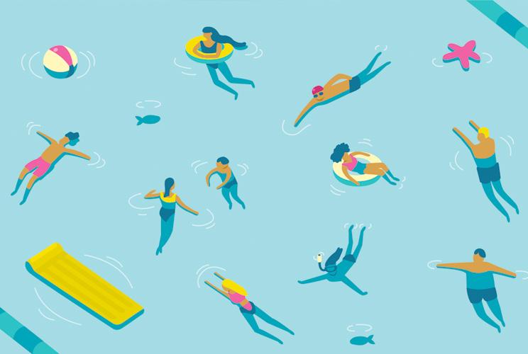 Ilustración de una piscina con personas